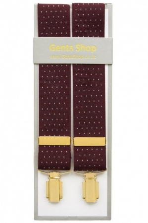 Maroon Trouser Braces with Small White Polka Dot Design - Available In 3 Sizes